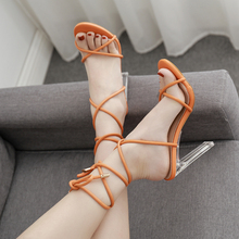 Liren 2019 Summer Fashion Lace-Up Cross-Tie PVC Transparent Thin High Heels Sandals Sexy Party Open Toe Point Lady