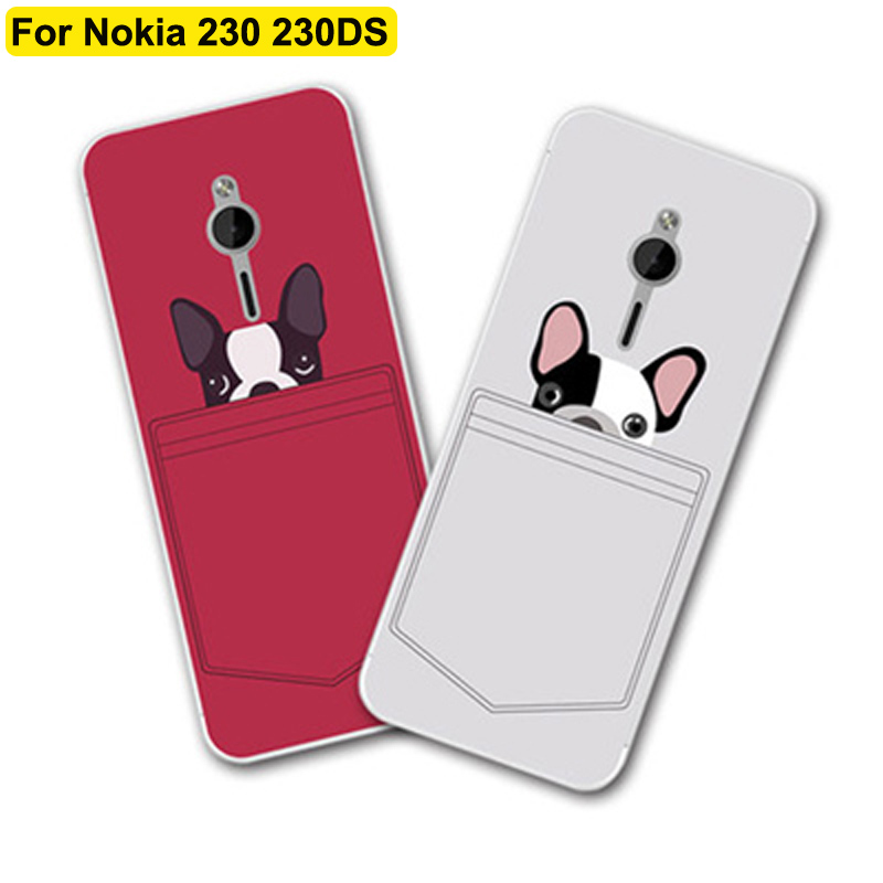 2PCS For <font><b>Nokia</b></font> 230 <font><b>230DS</b></font> case cover cute cartoon soft phone cases For <font><b>Nokia</b></font> 230 DS RM-1172 case cover shell back fundas image
