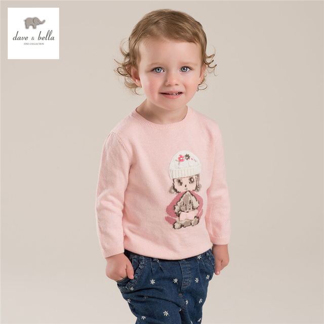 DB4030 дэйв белла осень девочка розовый свитер малышей свитера детские одежда девушки жаккардовые свитера высокое качество