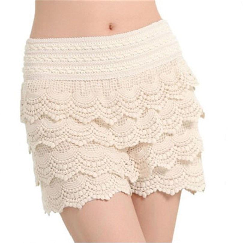 YRRETY 2020 New Summer Fashion Womens Shorts Sweet Style Lace Crochet Elastic Waist Slim Short Pants Plus Size S M L XL XXL Hot
