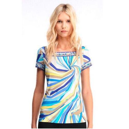 2017 women's Italian fashion  elastic knitted silk jersey  slim tops t-shirts