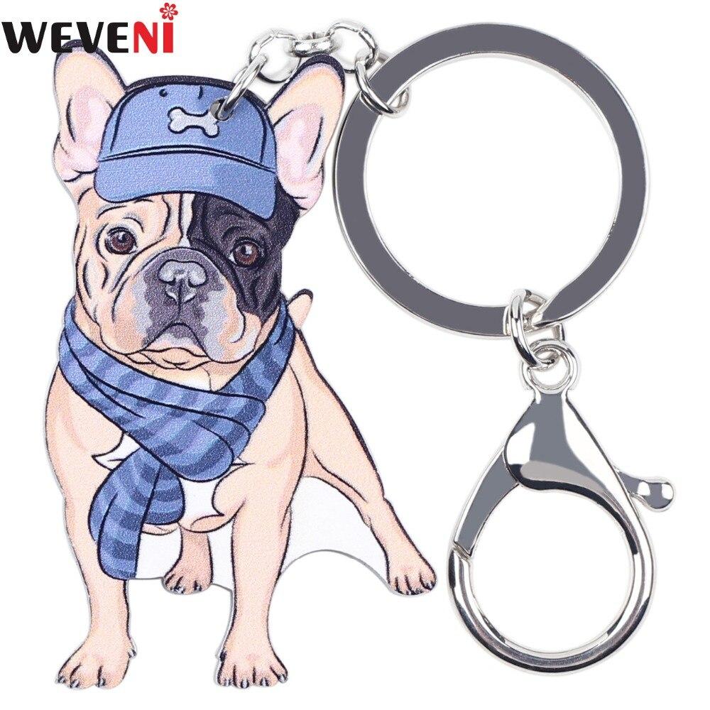 WEVENI Original Plastic Bulldog Dog Key Chain Key Ring Bag Charm Car Keychain Accessories 2017 New Fashion Jewelry For Women