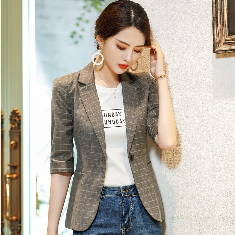 Fashion Plaid Formal Half Sleeve Women Blazer And Jackets Coat For Ladies Office Work Wear 2019 Spring Summer OL Styles Blazers