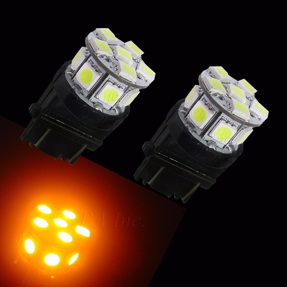 PA LED 10 pièces x 3157 13SMD 5050 LED jaune ambre Orange couleur la plus brillante voiture LED ampoules inversées 12 V