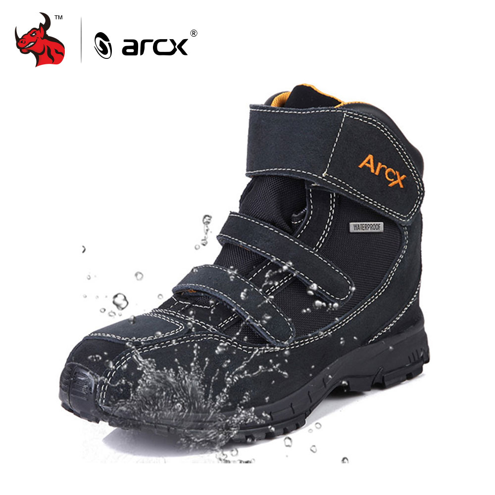 ARCX Motorcycle Boots Genuine Cow Suede Leather Waterproof Street Moto Motorbike Chopper Cruiser Touring Riding Shoes