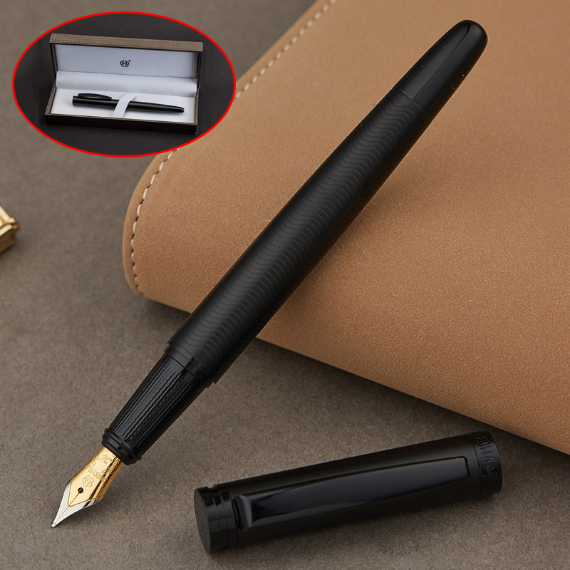 Full Metal Matte black thread body Iraurita fountain pen 0.5mm ink pens Business Office caneta tinteiro Stationery Gift Box 1037 kaco cobble metal fountain pen business office gift 0 5mm writing ink pens with box student practise calligraph pen stationery