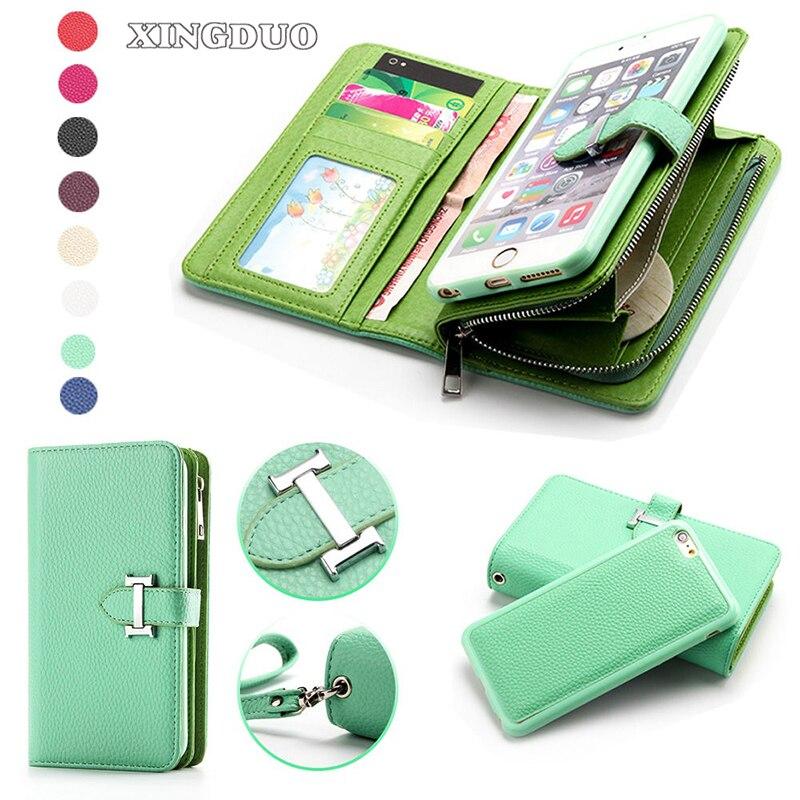 imágenes para Xingduo pu bolso de cuero para iphone 7 case hold tarjeta de cremallera desmontable coin wallet case para iphone 7 7 plus 6 s plus se 5 5S