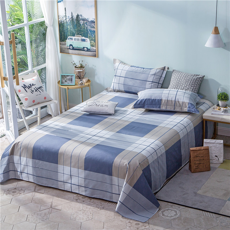 Blue Simple Plaid Pattern Bedding Flat Sheet 100% Polyester Bed Sheet For Child Kids Adults King Size Mattress Protector Cover