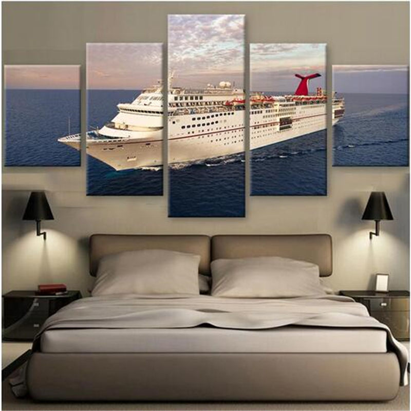 modern painting on art modular picture large ships hd printed modern home wall decor contemporary wall - Contemporary Wall Decor