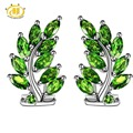 Hutang 3.0Ct Natural Chrome Diopside Solid 925 Sterling Silver Leaf Earrings Fine Jewelry Vivid Green Gemstone