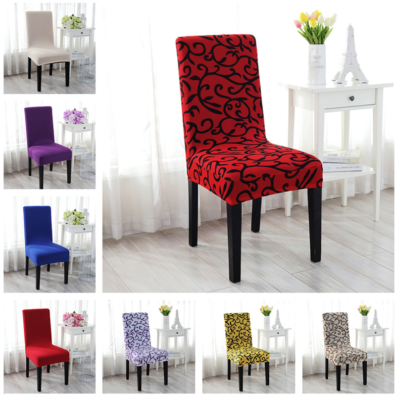 2019 New Printed Spandex Stretch Dining Chair Covers Restaurant Weddings Banquet Hotel Chair Covering Protector Slipcover