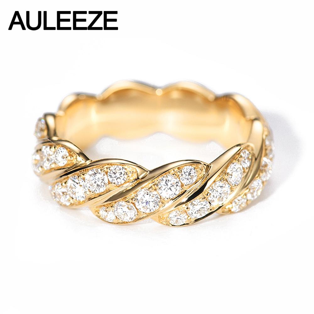 AULEEZE 1 CTTW Moissanite Trançado Banda 14 585 k Amarelo Anéis de Ouro Para As Mulheres Lab Grown anel de Banda de Casamento Do Diamante Fina jóias
