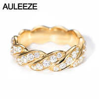 AULEEZE 1CTTW Moissanite Twisted Band 14k 585 Yellow Gold Rings For Women Lab Grown Diamond Wedding Band Fine Jewelry