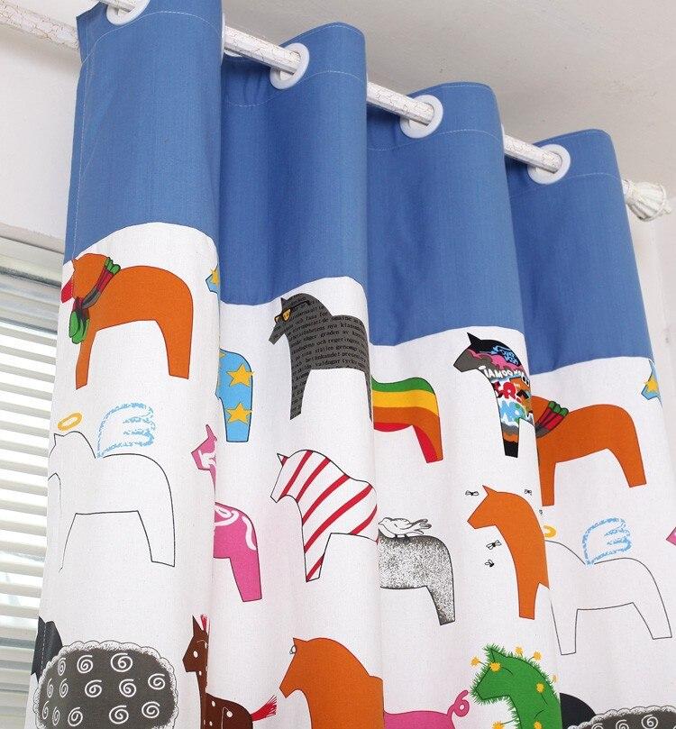 comprar chica nio nio pequeo troyano de dibujos animados patchwork rayas cortina para el dormitorio de los nios pequeo caballo cortina