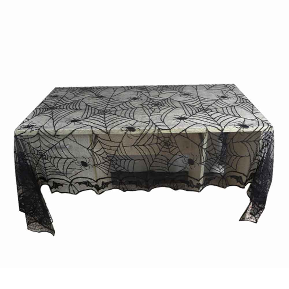 New 244*122CM Lace Black <font><b>Spider</b></font> <font><b>Web</b></font> Halloween Decoration For Home Party Props Rectangle Tablecover Tablecloth Overlay Cobweb