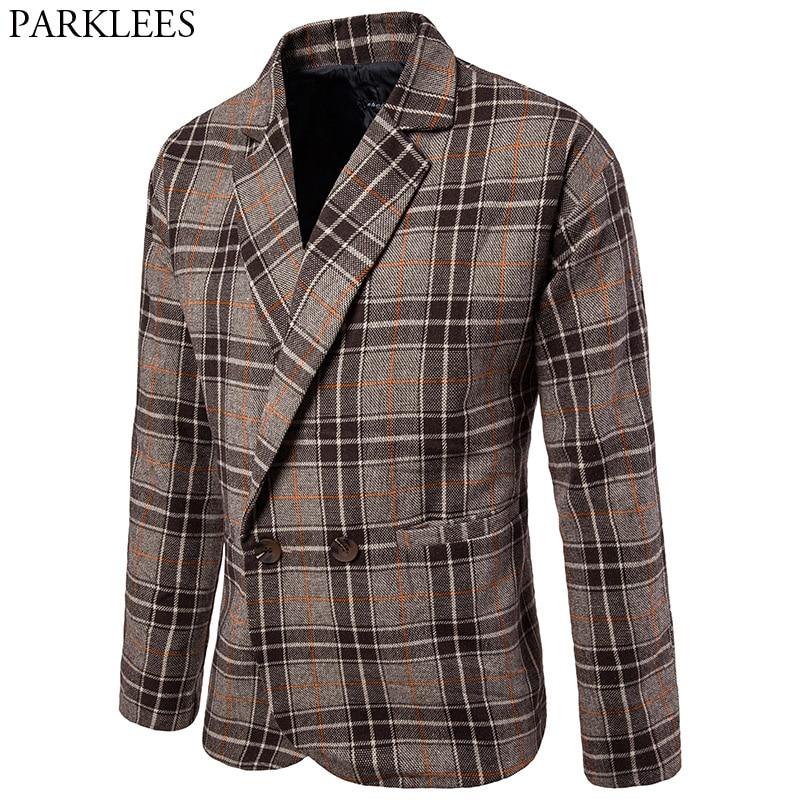 Plaid Wool Trench Coat Men 2017 Winter Long Trench Coats Casual Pocket Mens Pea Coat Jacket Male Windbreaker Manteau Homme 2XL