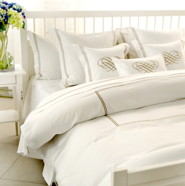 Chic White Hotel Vintage Bedding Gold Embroidery Duvet