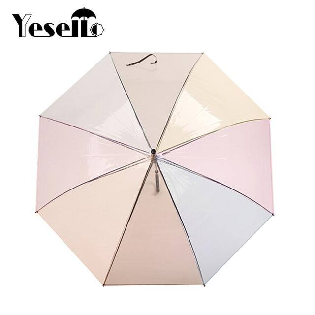 Yesello 1 шт. пластик ЕВА 8 ребра с длинной ручкой Радуга прозрачный зонтик с пузырьками дождь женщин полуавтоматический Paraguas