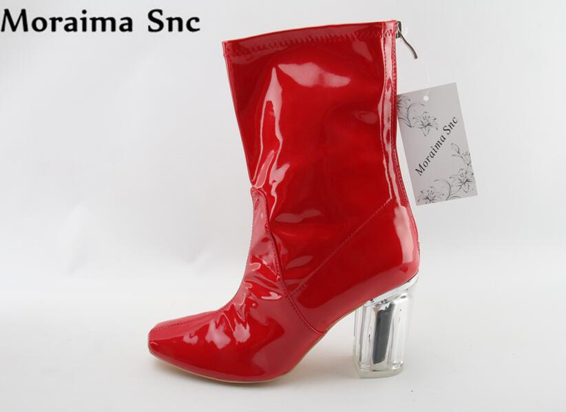 Moraima Snc Square Toe concise type fashion 2018 Sexy Mid-calf Boots for Woman Thick heel zipper patchwork red Boots 2018 new suede leather patchwork women flodover mid calf boots sexy pointy toe ladies blade heel boots zipper knight boots