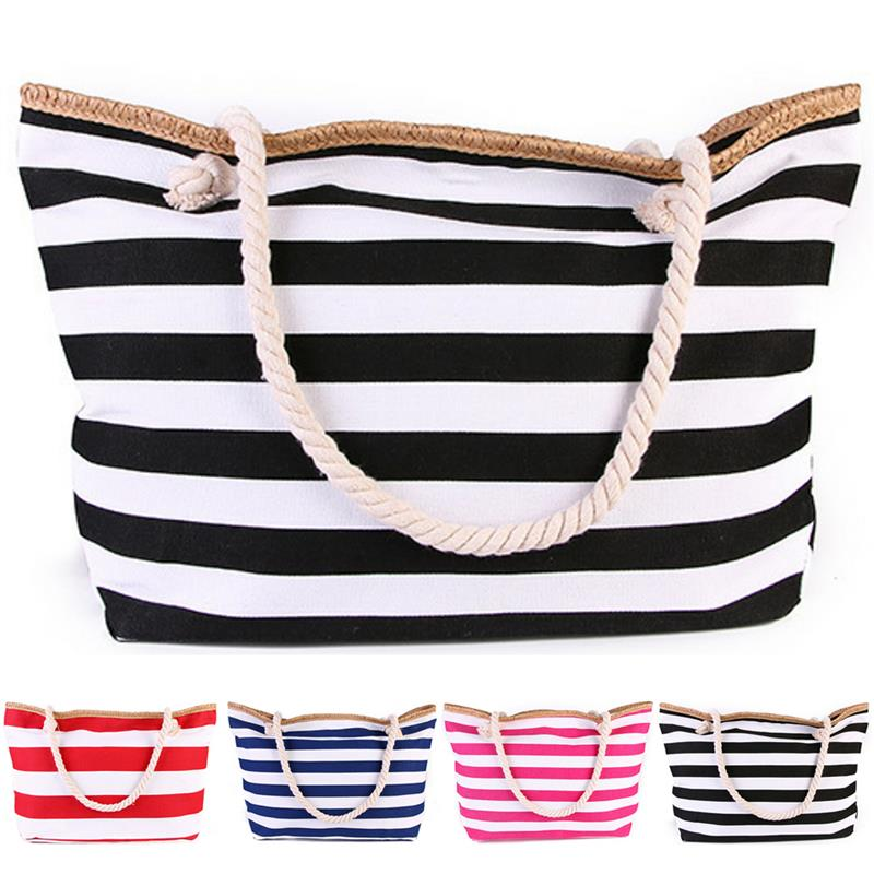 1Pc Fashion Women Canvas Beach Tote Bag Summer Wild Large Capacity Striped Shoulder Bag Tote Handbag Shoulder Bags For Travel
