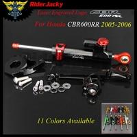 Motorcycle CNC adjustable Linear Reversed Steering Damper with bracket Support For Honda CBR600RR CBR 600RR 2005 2006 05 06
