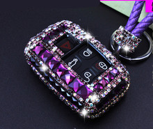 цена на Bling Diamond Car styling Remote Key Case Shell Cover Key Cover For Land Rover RANGE ROVER SPORT Evoque Freelander Discovery 4