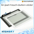 Black & white 1 piece free shipping lcd glass with flex cable for iPad 4 touch digitizer + home button + sticker + tools
