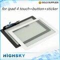 Black & white vidro lcd com cabo flexível 1 peça frete grátis para ipad 4 digitador touch + botão home + adesivo + ferramentas