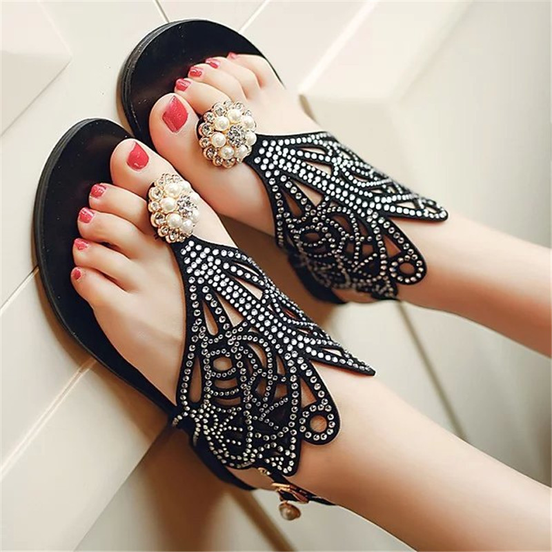 HKCP Fashion Clip on sandals women 39 s summer 2019 new casual flats fashion hollow beaded water drill sandals C238 in Low Heels from Shoes