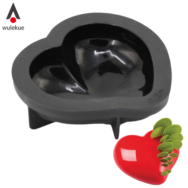 wulekue 1pcs non stick silicone 3d heart shape cake mold for