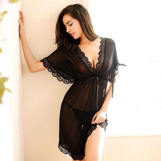 acheter femmes chemise de nuit sexy dentelle pissage chemises de nuit chauve. Black Bedroom Furniture Sets. Home Design Ideas