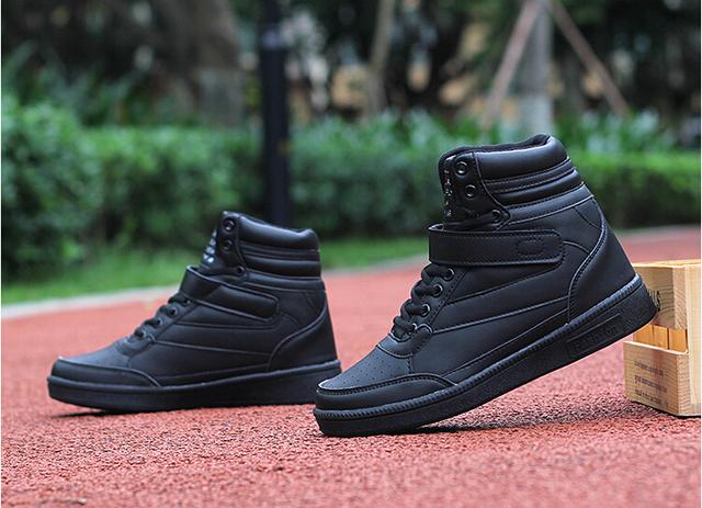 Akexiya Nueva primavera otoño botines de tacón negro zapatos de las mujeres zapatos casuales altura aumento high top zapatos para adultos de TAMAÑO 35-40