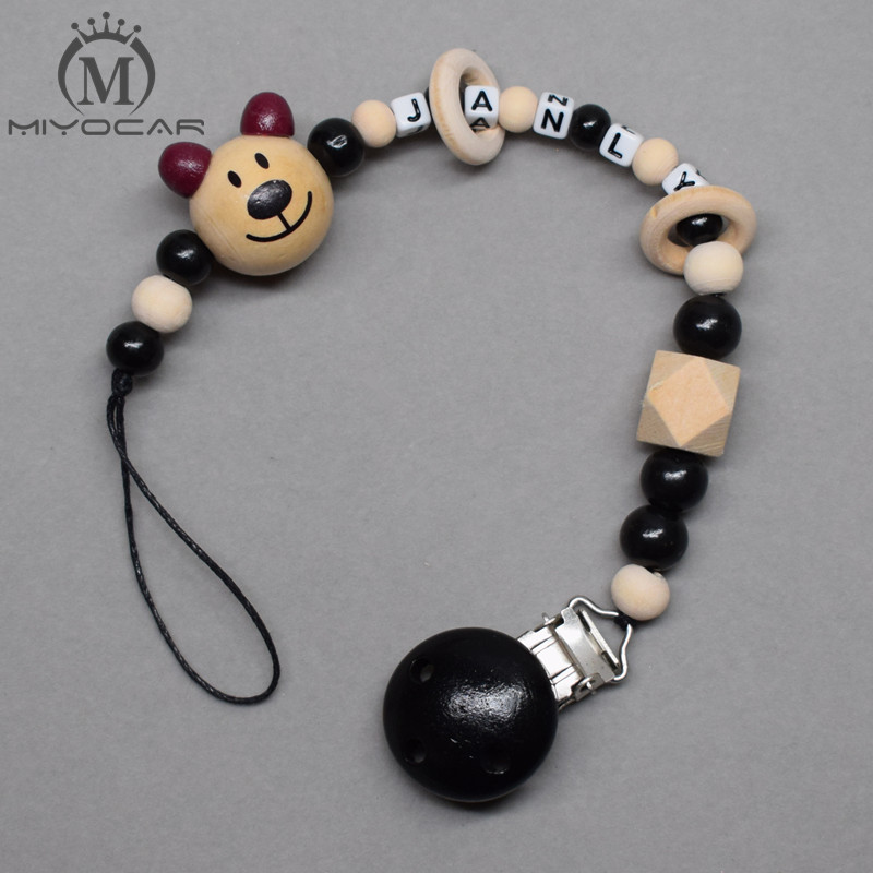 MIYOCAR Personalised Any Name Lovely Bear Black White Wooden Beads Dummy Clip Holder Pacifier Clip Soother Chain Teether Clip