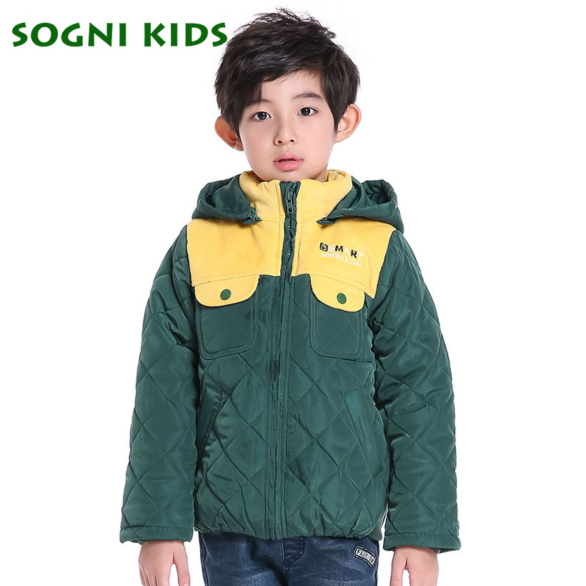 SOGNI KIDS Patchwork Colors Winter Jacket Boys Hooded Coats Kinderkleding Baby Winter 2016 Toddlers Fashion Outwears фигурки игрушки prostotoys шер хан табаки маугли