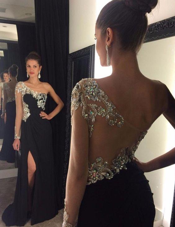 New Black Beading Chiffon Evening Dresses 2019 One Shoulder Floor Length A-line Prom Dresses Robe De Soriee Vestidos