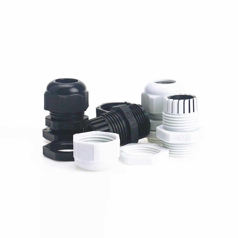 20 unids/bolsa IP68 impermeable blanco y negro PG16 de alivio de tensión glándulas conector