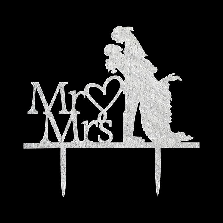 Acrílico Amor Corazón Pastel de bodas Bandera Topper Mr & Mrs Novia - Para fiestas y celebraciones - foto 6