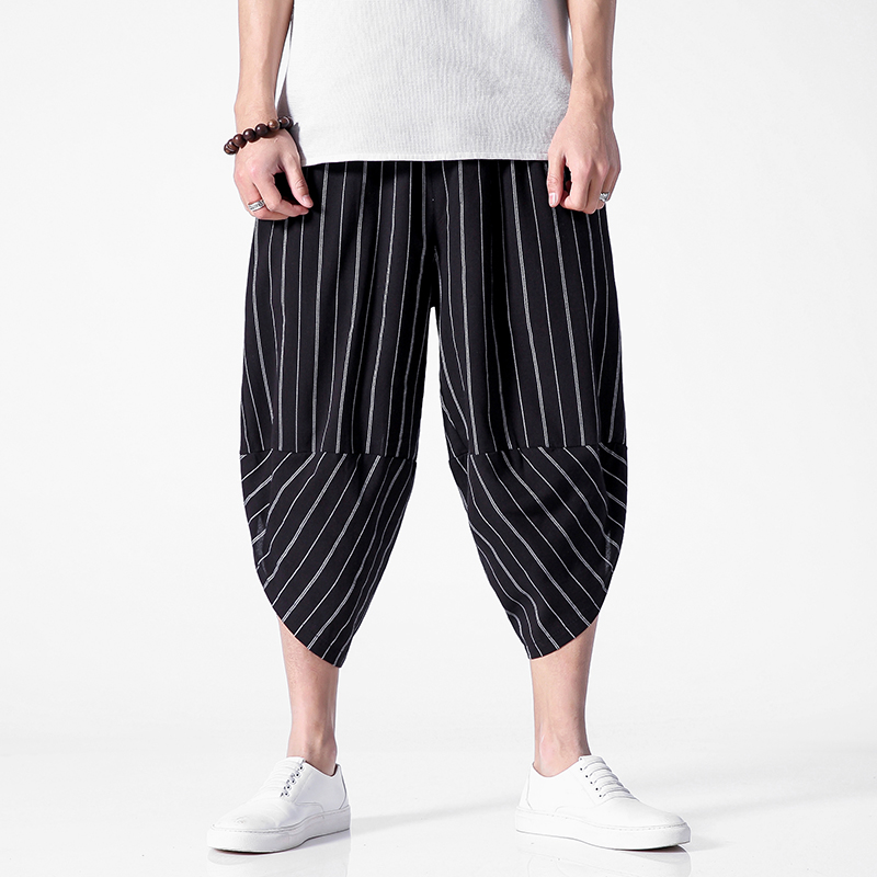 BQODQO 2019 Pants Men Plus Size Drawstring Trousers Summer Sports Striped Pant Streetwear Japanese Causal Loose Trousers Trendy(China)