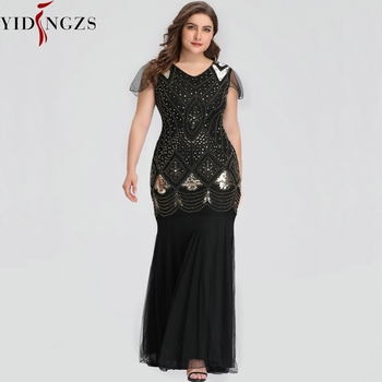 Plus Size Evening Dress Black Golden Sequins Beaded Formal Long Evening Party Dress GA81 2