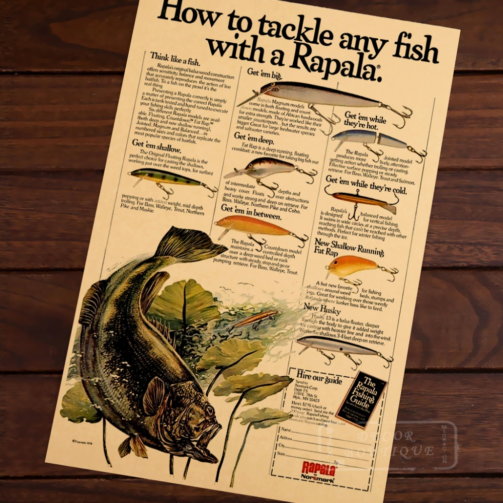 Karte von Zeitung Angelgerät Fische Mit Rapala Klassische Vintage ...