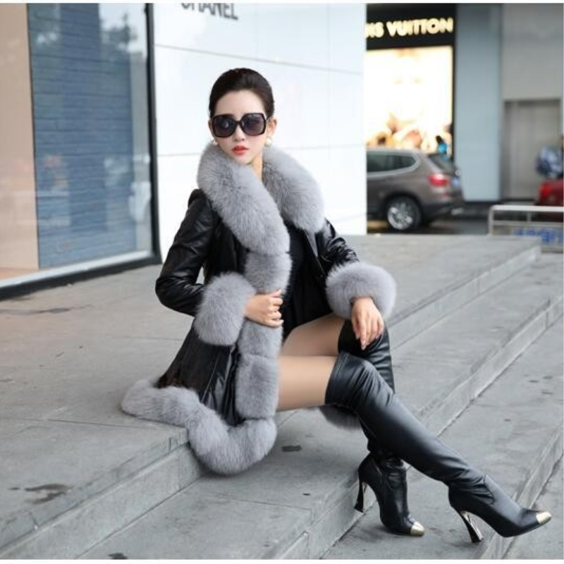 Latest Winter Female Sheepskin Coats High Quality Faux Fur Pure Color Fox Collars Snap Fastener Furs