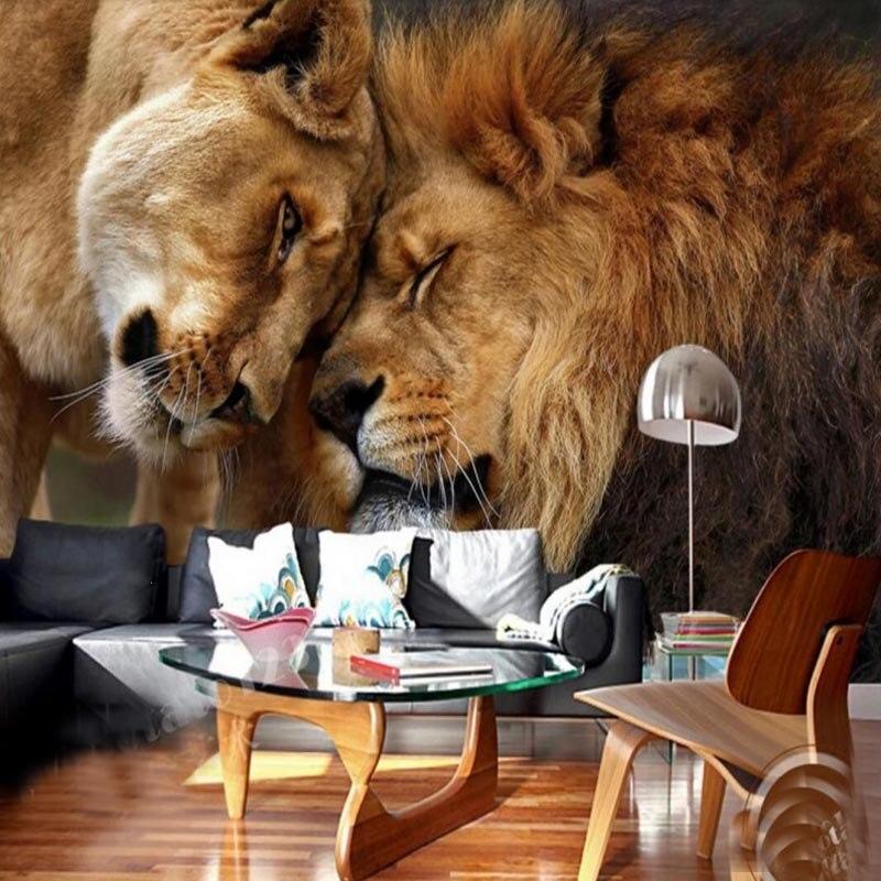 Papel de parede personalizado hd 3d dominador leão animal fotografia tv pano de fundo grande mural sala estar fundo papel de parede animal