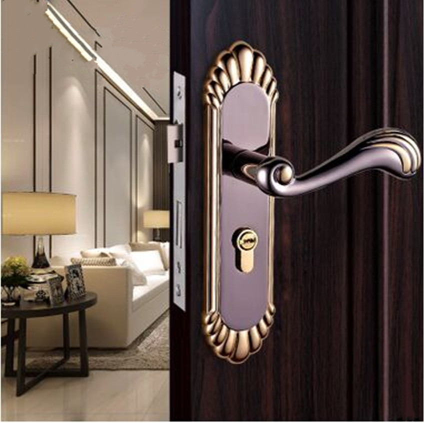 European Retro Interior Door Lock High Quality Solid Wood Door Handle Lock Golden Black Bedroom Kitchen Bathroom Book door locks european style retro quiet mechanical interior door lock ivory white bedroom study kitchen bathroom solid wood door lock handle