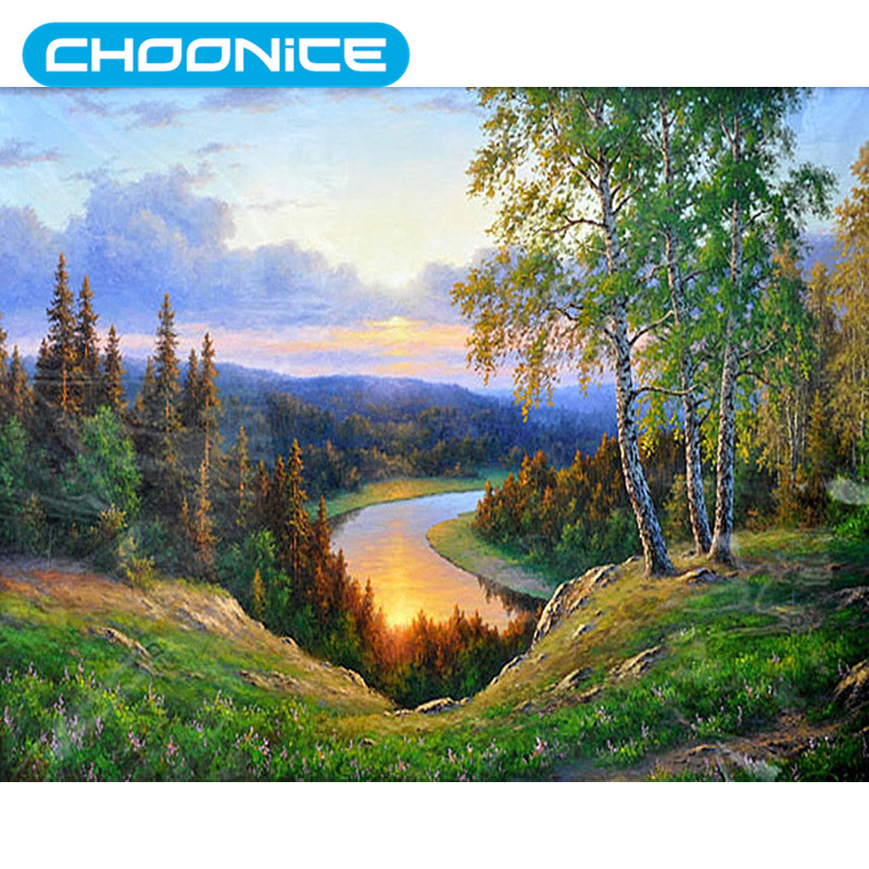 DIY 3D Diamond Embroidery Landscape Mountain Sunset Birch Forest Painting Diamond Painti ...