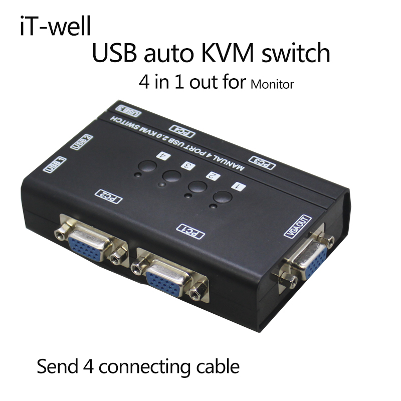 KVM Switch 4 Port AUTO VGA Switch   With USB Console, 1 Set Of Keyboard And Mouse Controls 4 Computer Hosts With Cable