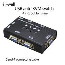 Kvm переключатель vga с 4 портами usb автоматический консолью