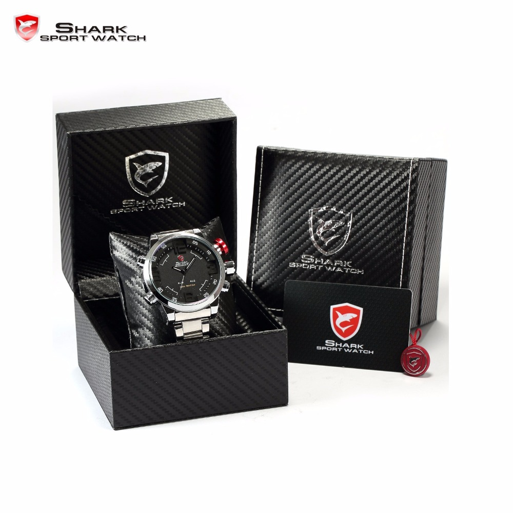5fa0a0383c9 Luxury Package Box SHARK Sport Watch Brand Reloj Hombre Calendar Digital  Army Quartz Military LED Steel Wrist Watches  SH103-108
