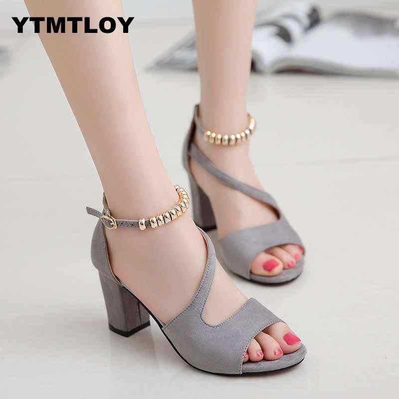 Plus Size 34-42 Phụ Nữ Mùa Hè Giày Sandal Hở Mũi Nữ Sandles Gót Dày Bơm Hàn Quốc Phong Cách Võ Sĩ Giác Đấu cao Peep Zapatos
