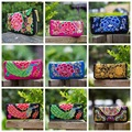 GUDANSEN Embroidered Canvas Women Wallet Purse Handmade Ethnic Flowers Embroidery Zip Day Clutch  Cash Card Handbag A 2016
