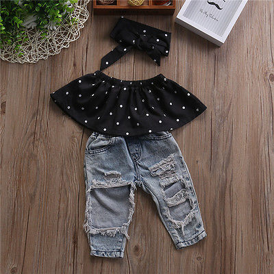 Infant Baby Girls Clothes Sets Denim Pants Headband 3pcs